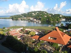 Castries harbour, St Lucia. The shadow across the bottom of the photo is that of the ship.