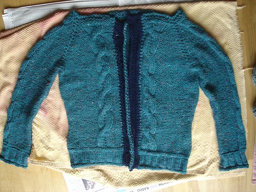 Bulky cabled cardigan, blocking