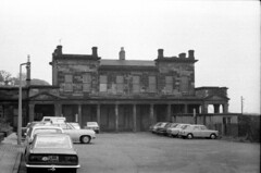 LISPB Burntisland Station Scotland 7th August 1974 (loose_grip_99) Tags: uk railroad car station ferry train 1974 scotland blackwhite noiretblanc railway vehicle railways burntisland britishrailways lispb