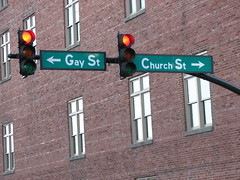 Gay Street | Church Street (tmac0381) Tags: red urban topf25 sign geotagged trafficlight interestingness downtown tn nashville tennessee explore stop irony favorited faved blueribbonwinner interestingness136 i500 canonpowershots3is churchst gayst