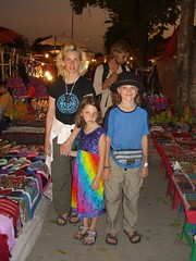 Meta, Anna and Caleb at the night market