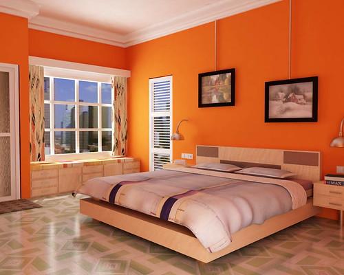 Orange Walls Classy With Orange Bedroom Decorating Image