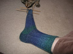 Blue cable sock