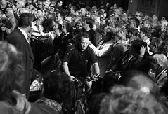 The art of zen (view large) (joris besseling) Tags: people bw bicycle contrast cyclist crowd denhaag thehague stmagnumesque criticismwelcome street5bob