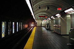 (scottintheway) Tags: sky station yellow vancouver train canon subway eos bc waterfront lensflare 5d skytrain tamron f28 2875mm