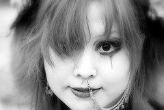 Gothic lolita (manganite) Tags: girls portrait people bw cute topf25 beauty face fashion japan digital geotagged asian japanese tokyo chains costume interestingness cool eyes topf50 nikon topf75 asia cosplay tl gothic makeup teens posing style lips piercing explore harajuku fancy teenager  nippon  highkey earrings d200 nikkor dslr topf100 nihon kanto stylish japanesegirl theface  contactlens fav100 interestingness29 i500 18200mmf3556 spselection utatafeature manganite nikonstunninggallery ipernity challengeyou challengeyouwinner abigfave portraitofface artlibre unaltraperlanera geo:lat=3566983816299961 geo:lon=1397023653255284 date:year=2006 date:month=september date:day=17
