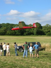 Field landing practice - over the hedge (Graham E) Tags: gliding glider k13 sailplane lasham