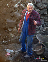 Workmen 0023 - Phil the elder lends a helping hand (marmaset) Tags: blue man male men home yard work real back workmen outdoor masculine garage gang guys lad builders worker mate build tool rubble builder workie
