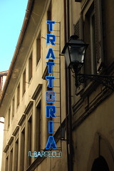 Trattoria sign (wunnspeed) Tags: street travel light shadow italy sun signs florence italia tuscany firenze toscana