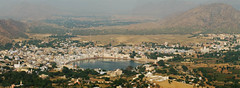 Panoramic View of Pushkar Lake and Ghats (Captain Suresh Sharma) Tags: city travel panorama india white lake holiday heritage water digital buildings religious asia view culture ground wideangle fair tourist panoramic aerial hills event temples destination annual spiritual pushkar pilgrimage brahma ghats sarovar savitritemple toughclimb