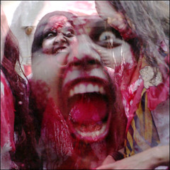 out for blood (pixietart) Tags: nyc film nycpb mouth square costume scary blood zombie seagull makeup multipleexposure scream horror multiple gothamist layered deitchprojects artparade