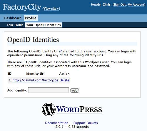 OpenID Identities