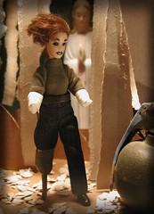 learning curve (dcecil805) Tags: california red art illustration doll spirit mary cardboard torn grenade bandage diorama guardian amputee photoillustration frag fragmentation pegleg