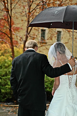(scottintheway) Tags: autumn wedding color fall love leaves rain umbrella matt groom bride october veil dress katie tuxedo tux ingvardsen