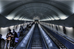 Prague metro - forget which station. Maybe Mustek. (Stevacek) Tags: blue stairs d50 underground subway lens nikon czech prague metro escalator prag praha scifi hdr ceska modry stevacek pohyblivschodit