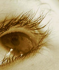 Mirror of my Soul (Bloui) Tags: selfportrait macro eye topv111 sepia reflections lashes regard contactlense powershots1is