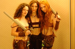 Dragoncon 2004 (Cherie Priest) Tags: dragoncon jessica 2004 me laura warriorwomen kingarthur guinevere women con convention fantasy