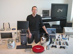 My Digital World (Wade Roush) Tags: dog dogs computer tv ipod printer laptop cellphone computers turntable communication entertainment remote laptops microwave gadgets remotes playstation2 roomba printers cellphones ricecooker netgear vacuumcleaners netpop