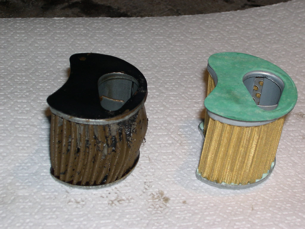 Old and new oil filters