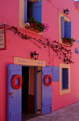 Warm Fuscia wall - Greece (mnadi) Tags: warm pink fuscia wall greece kefalonia ionic greek island windows door matsouki alley back architecture