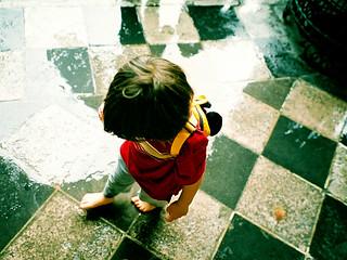 walking barefoot in the rain
