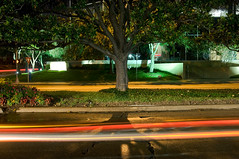 (S E B) Tags: street longexposure shadow color tree cars electric night lights nikon texas d2x houston streaks buffalospeedway sebastienettinger