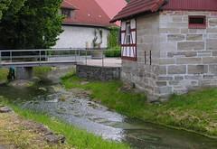 Bridge over the little brook (:Linda:) Tags: bridge house water june stone germany thüringen village thuringia brook brücke halftimbered thuringian gewässer brünn
