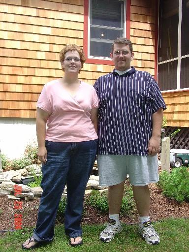 The pair of us - July 25th, 2004 shrinking away!