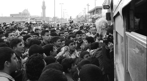 Human shields greeted as they cross the border into Iraq