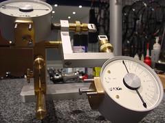wheel truing stand (hangdog) Tags: pklie truingstand wheelbuilding jig workshop wheel bicycle machinery tool gauge dialgauge aluminium aluminum brass machined cnc