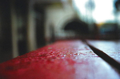 rain on a red table