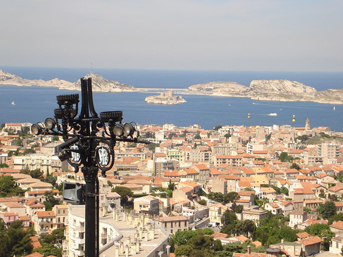 Veiw of Marseille with the Chatea d'If in the center