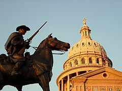 Texas Ranger & Capitol Dome (Viajante) Tags: city urban statue architecture austin texas historic capitol texasranger