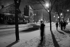 Snow on State Street (gsgeorge) Tags: city longexposure winter shadow blackandwhite bw snow architecture night contrast america interestingness streetlight streetlamps streetlights michigan annarbor statestreet smalltown annarborarchitecture geoffgeorge gsgeorge elegantgroup geoffreygeorge gsgfilms gsgfilmscom