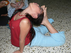 KT touches feet to head (shimmertje) Tags: new feet topv111 singapore head year chinese stretch 106 niece contortion flexible ktyn