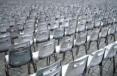 monochRome - silent crowd (Zioluc) Tags: italy pope vatican rome roma grey chairs empty crowd silence seats repetition dull piazzasanpietro 0x82878c luciobeltrami