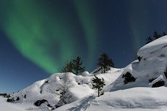Day and Night (davebrosha) Tags: trees snow green topf25 topv111 night wow canon20d hill tracks 2006 fisheye aurora masters northwestterritories emerald snowmobile northernlights auroraborealis 8mp veelake nightsacpe sigma15mm