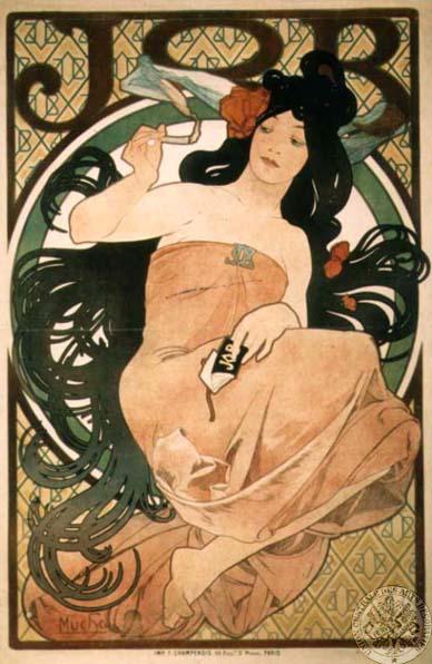 Alphonse Mucha, Papier a Cigarettes Job ad, 1898