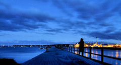 Figure at the pier by dusk (toomanybeers) Tags: blue usa pier harbour dusk maine silouette coastal overexposed rockland cy2 challengeyouwinner 3waychallenge rocklandarea 3wayassignment21 photofaceoffwinner pfogold