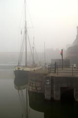 Audrey (tonecoach) Tags: fog marina reflections d50 nikon audrey hull barge