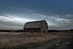 (scottintheway) Tags: morning autumn winter sky cold grass clouds barn landscape prairie saskatchewan