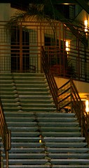 Staring at Stairs at Night (IMG_2424) (PhotoSensate) Tags: building lines stairs shapes structure geometrical archetecture flickrfavs photosensate