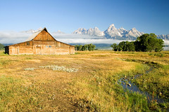A Barn, a Creek and Some Mountains (Robby Edwards) Tags: vacation mountains water fog barn creek nationalpark wyoming grandteton grandtetonnationalpark mormonrow moultonbarn abigfave