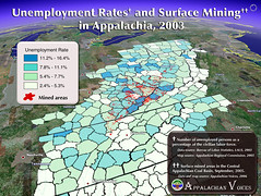 Unemployment rates and Surface Mining in Appalachia