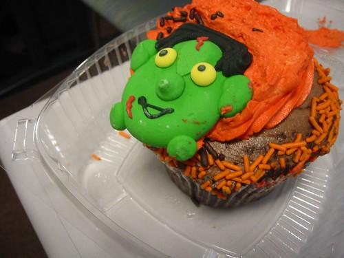 Orange Icing, Frankenstein Cupcake by ilovemods.