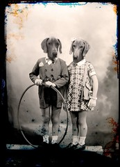 Gustav and Berenice (Martine Roch) Tags: fiction portrait dog pet animal vintage children weimar couple surreal gustav petitechose martineroch