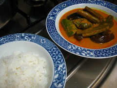 Vegetable Curry And Rice (Food Trails) Tags: vegetables rice homemade foodtrails homecooked homestyle homecooking curryleaves ladysfingers seasonings eggplants serai currypaste brinjals snakegourd driedseafood freshchilliesgroundingredients drumnsticks