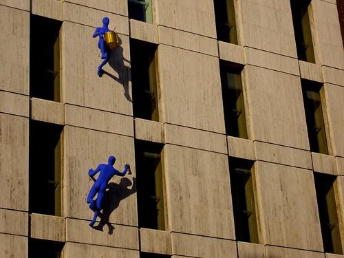 Climbing blue musicians