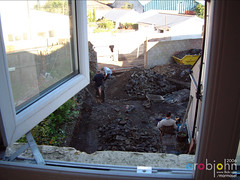 Workmen 0032 - better view when open but so cold (marmaset) Tags: blue man male men home yard work real back workmen outdoor masculine garage gang guys lad builders worker mate build tool rubble builder workie