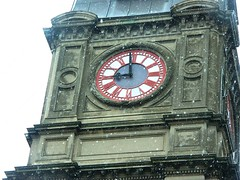 snow on town hall clock (gervo1865_2 - LJ Gervasoni) Tags: snow weather spring australia victoria ballarat 15112006 availablefromwwwballaratheritagecomau ballaratheritageservices wwwballaratheritagecomau photographerljgervasoni